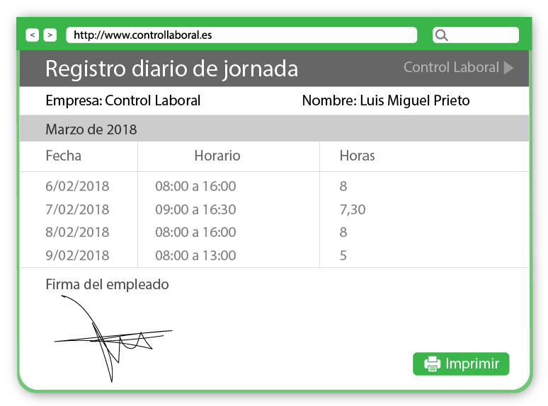 inspección de trabajo y el control de horas